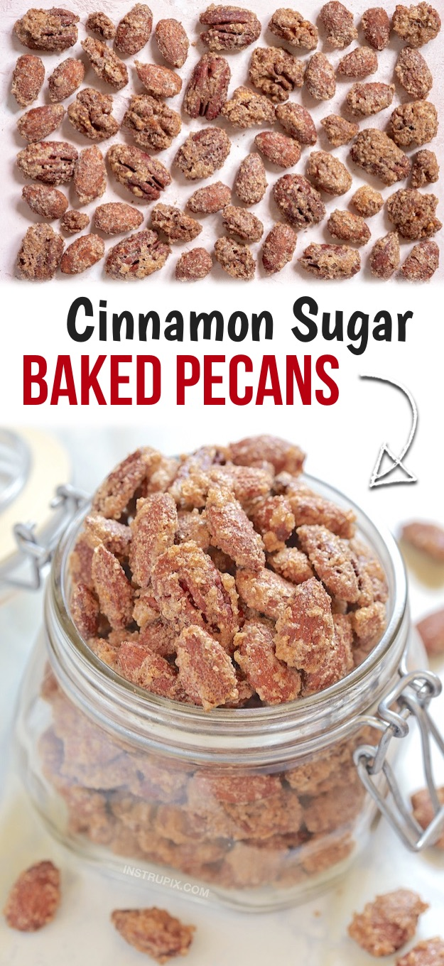 Looking for Christmas food ideas for parties or famiy gatherings? These cinnamon sugar pecans and almonds are the BEST holiday snacks and treats for a crowd! A quick and easy make ahead party finger food and appetizer everyone will love. Made with simple ingredients that you probably already have. Kids and adults love these candied pecans for the holidays including fall, Thanksgiving and Christmas. Fun and easy to make in the oven! Great for holidays gifts, too. #christmas #instrupix #pecans