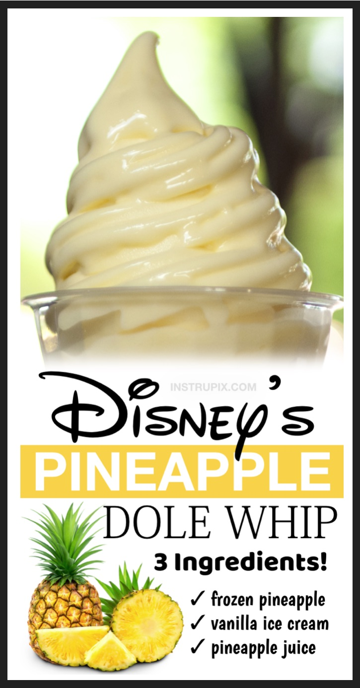 Looking for easy summer desserts to make for kids? Oh my goodness, this copycat pinepple dole whip from Disney is amazing! It's basically like a pineapple frosty or soft serve ice cream. It's so delicious especially on a hot summer day by the pool. And it's made with just 3 ingredients: frozen pineapple chunks, vanilla ice cream and pineapple juice. It's like a dream come true! Just quickly whip it up in your blender for the best treat, ever.