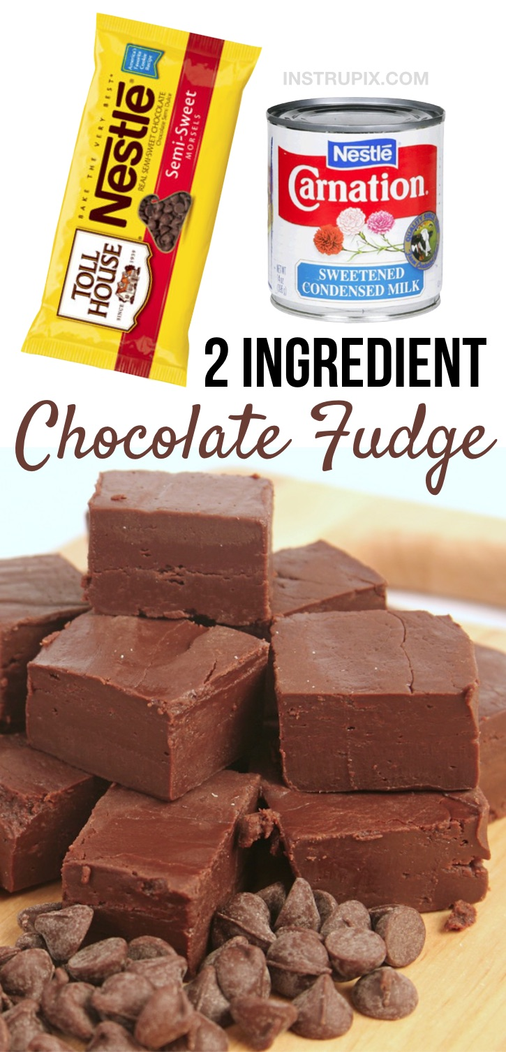 Looking for quick and easy homemade chocolate dessert recipes? This is the best fudge recipe made with just 2 simple ingredients! It's the perfect little no bake treat for the family or even to feed a crowd at parties or over the holidays. It's cheap to make with just chocolate chips and condensed milk. This easy fudge recipe is incredibly rich and comforting. It just melts in your mouth! So simple, but yet can be made fancy for a party. Super addicting! #chocolate #desserts #fudge #instrupix