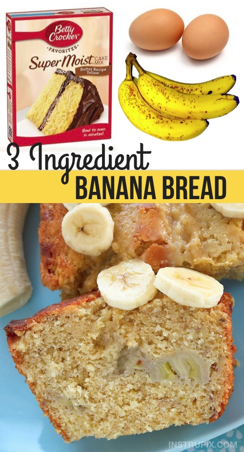 Easy Moist Banana Bread Recipe (3 Ingredients!) This super simple banana bread recipe is made with just a box of cake mix, eggs and bananas. Awesome with chocolate chips, too! #instrupix