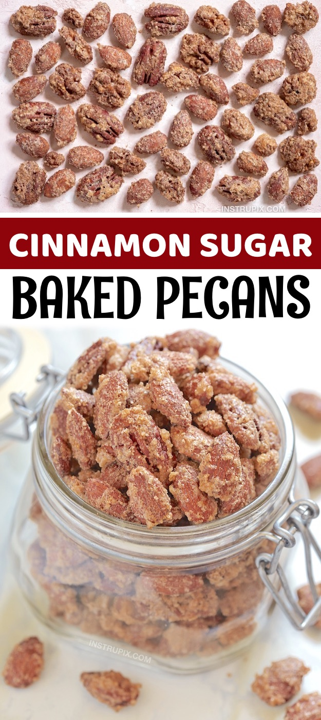 Homemade Baked Cinnamon Sugar Pecans - A fabulous holiday treat idea and finger food idea! You can use pecans, almonds or a combination of both. These homemade baked candied nuts are my favorite party food for any time during the holidays, especially Christmas. They are the perfect little snacks for family gatherings and parties. I'm always on the hunt for quick and easy make ahead party food ideas, and these candied pecans and almonds are always on the menu at my house. So easy to make, too!