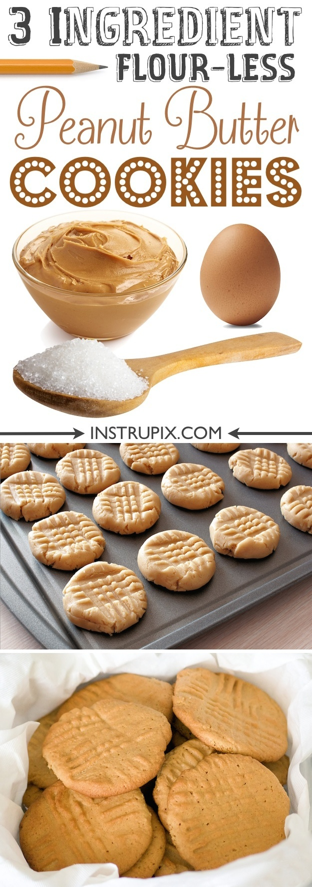 Easy flour-less peanut butter cookies recipe-- just 3 ingredients! Easy peanut butter dessert and treat. Instrupix.com