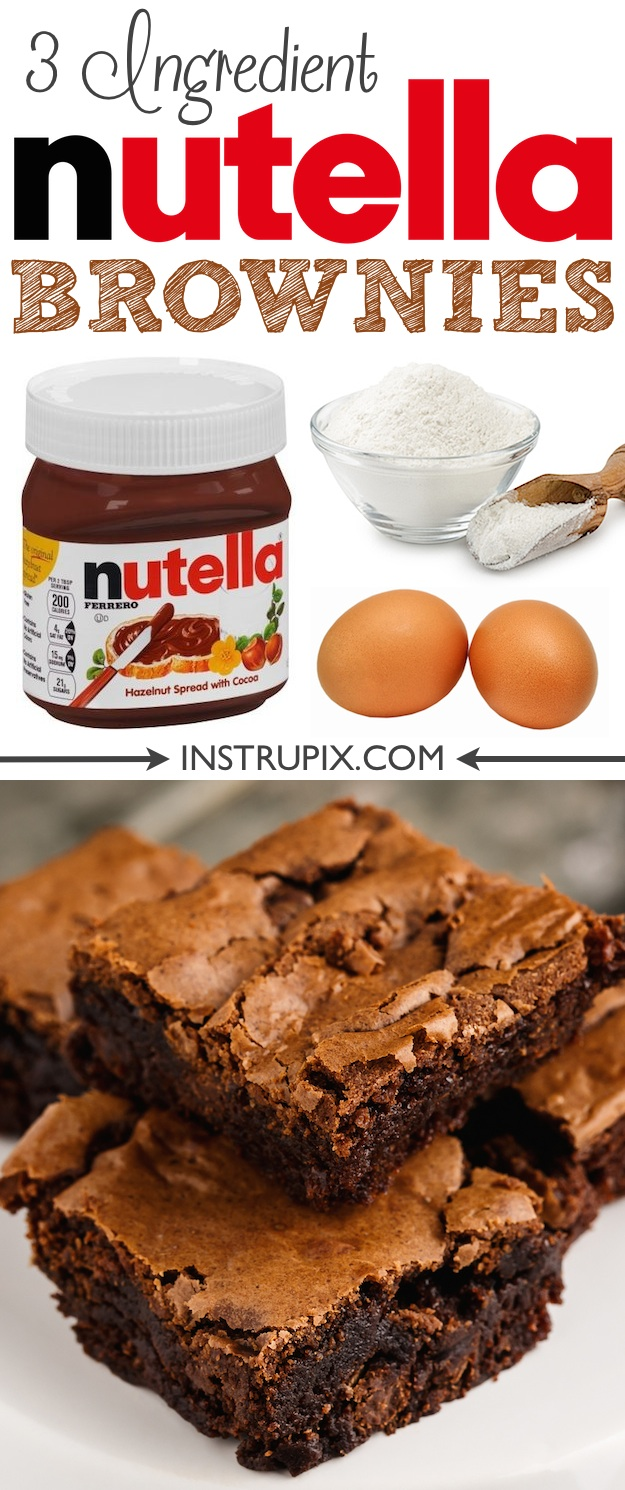 Easy Homemade Nutella Brownies Recipe made from scratch with just 3 ingredients! Super moist and fudgy!