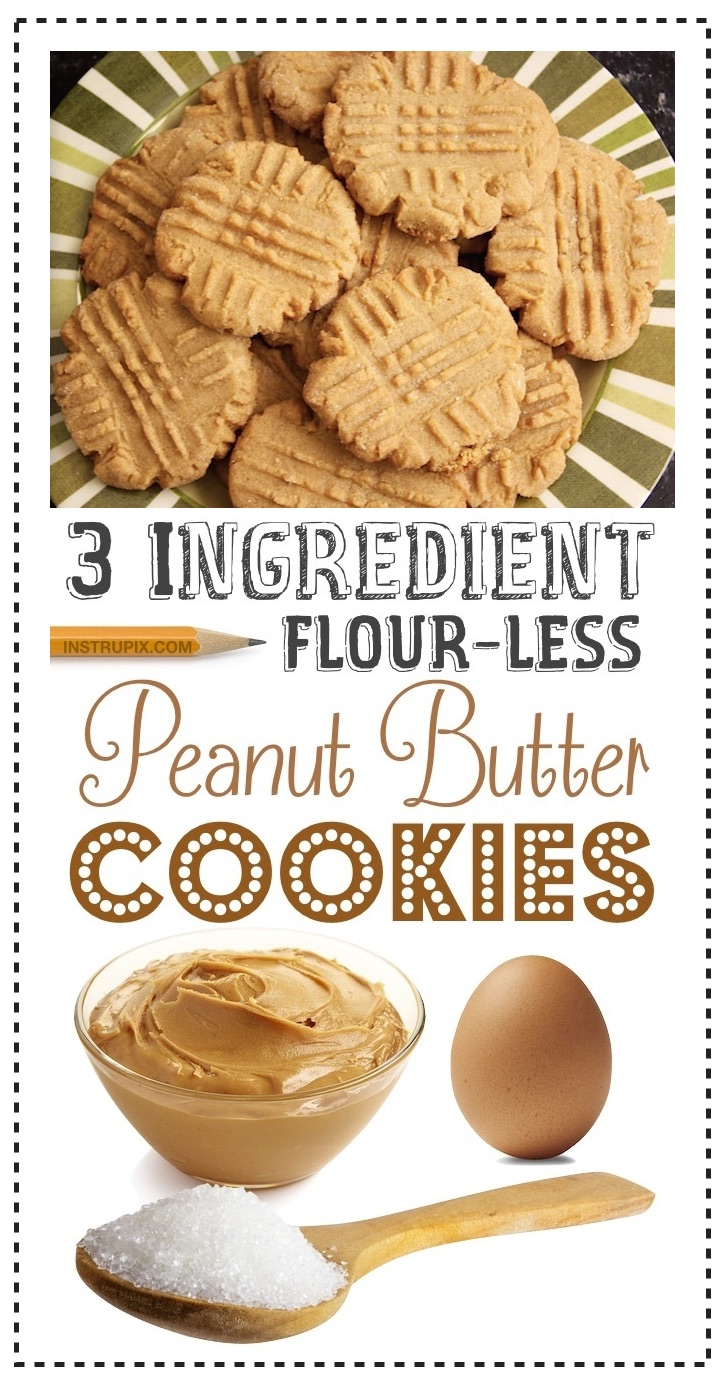 The BEST 3 Ingredient Soft and Chewy Peanut Butter Cookies - No flour, gluten free, quick, easy, homemade and simple to make! The best cheap peanut butter dessert recipe, ever!