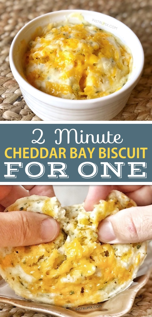 Microwave cheesy bread made in a mug. Copycat cheddar bay biscuits that take 2 minutes and serve one. #instrupix