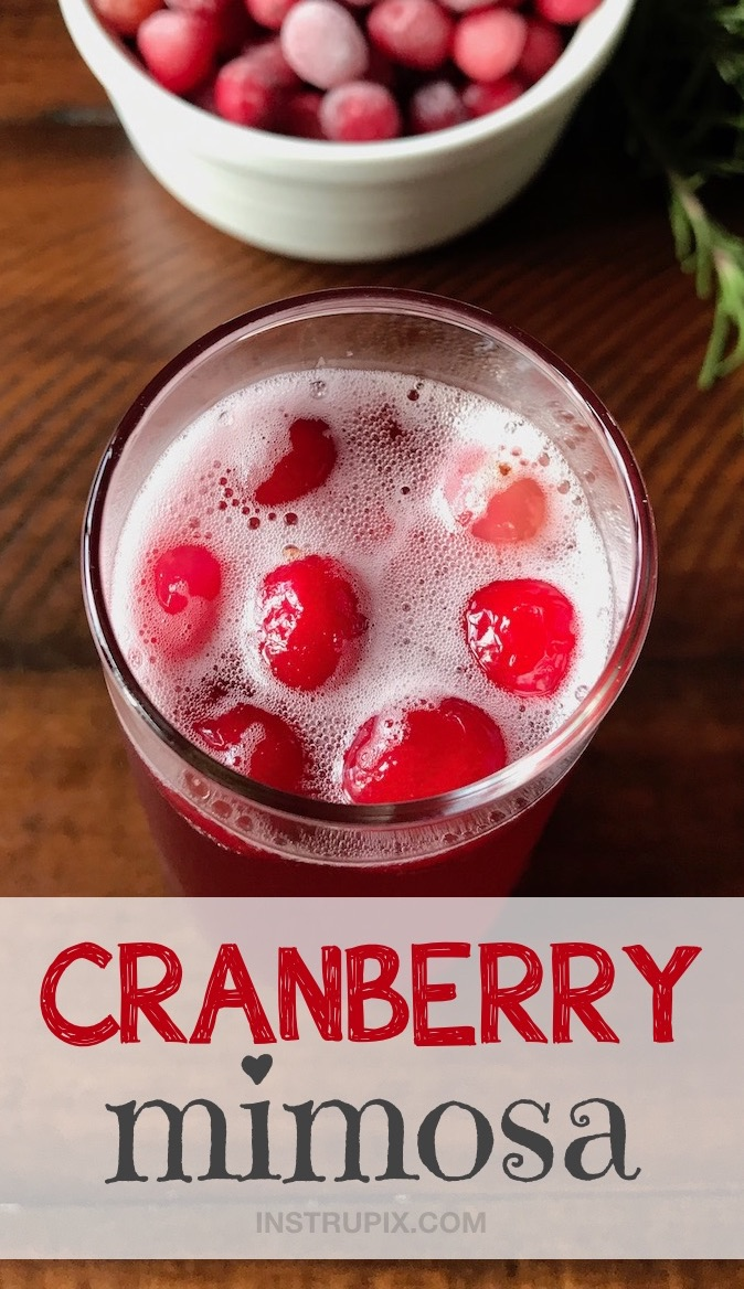 Cranberry Mimosa recipe made with champagne! Easy drink recipe idea for a Valentine's Day party for adults! Maybe even a girl's night in.