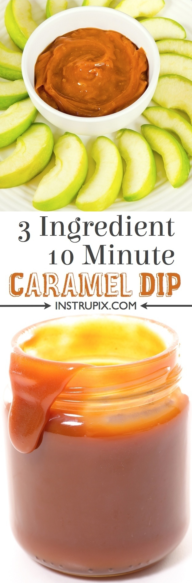 The BEST, easy caramel dip and sauce recipe for apples, pie, ice cream or anything else you would like! Just 3 ingredients!