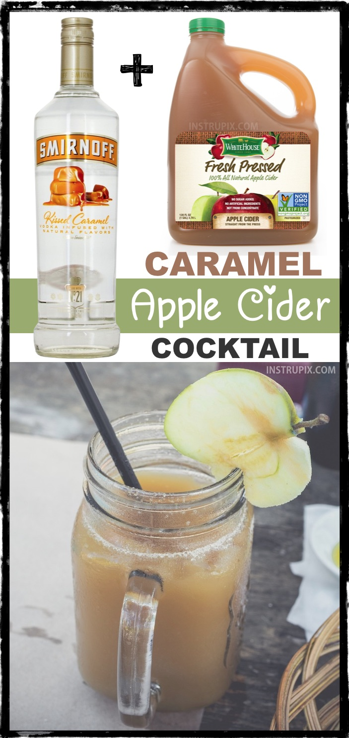 List of 2 ingredient holiday cocktails! This caramel apple cider cocktail recipe with alcohol is perfect for adults at Thanksgiving or Christmas! Great for a party! So easy. | Instrupix