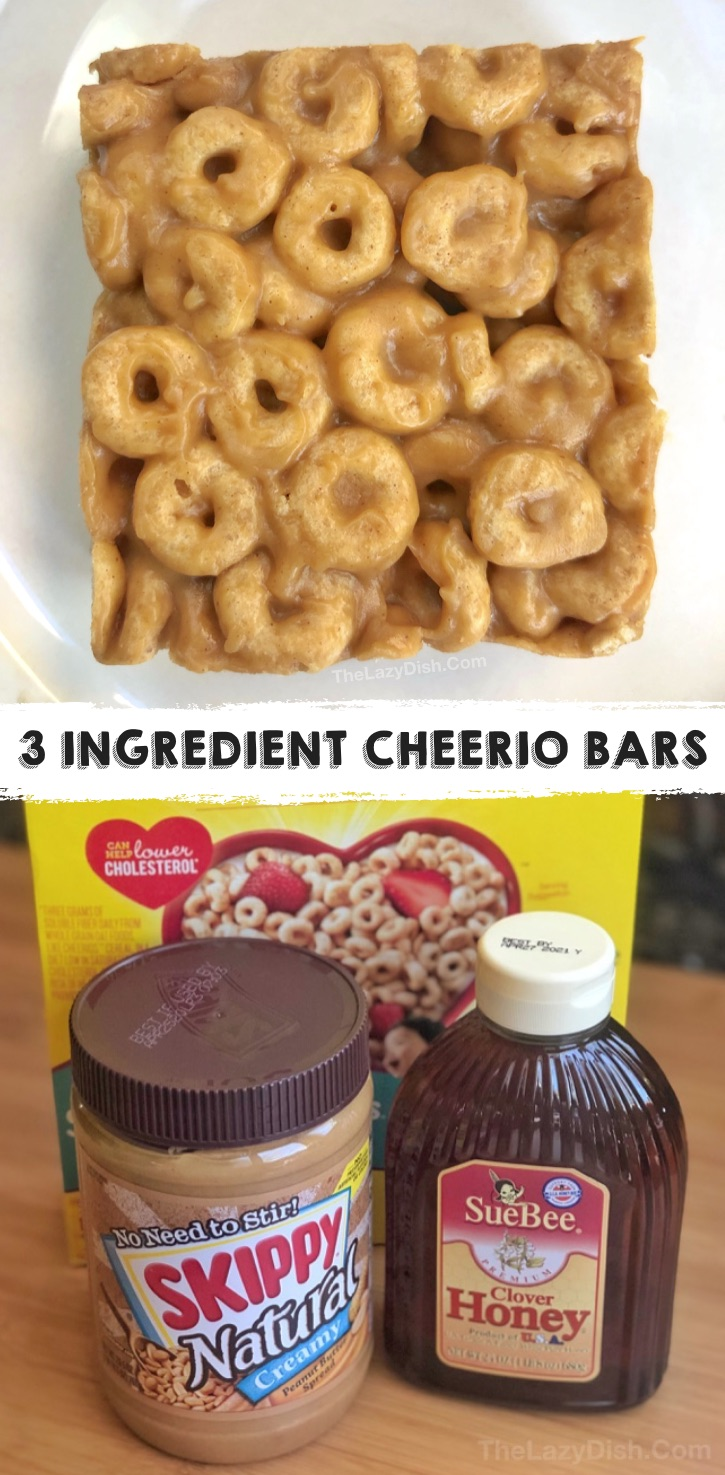 Super quick, easy and healthy snack ideas for kids! These peanut butter cheerio bars are made with just 3 simple and cheap ingredients. Great for on the go, sports, school lunch or after school snack. Even picky eaters love this simple snack recipe. #3ingredients #snacksforkids