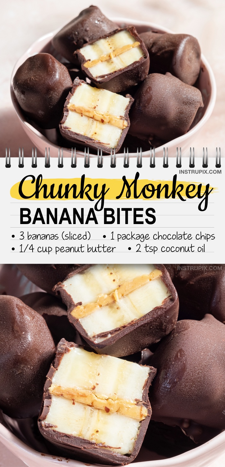 Easy and healthy kids snack and treat ideas. Chunky Monkey Banana Bites (made with bananas, chocolate and peanut butter). Freeze and enjoy! These kids snacks are perfect for hot summer days. Just 4 simple and cheap ingredients! Perfect for picky eaters and kids of all ages! #kidssnacks #funfood #chocolate #peanutbutter #healthysnacks