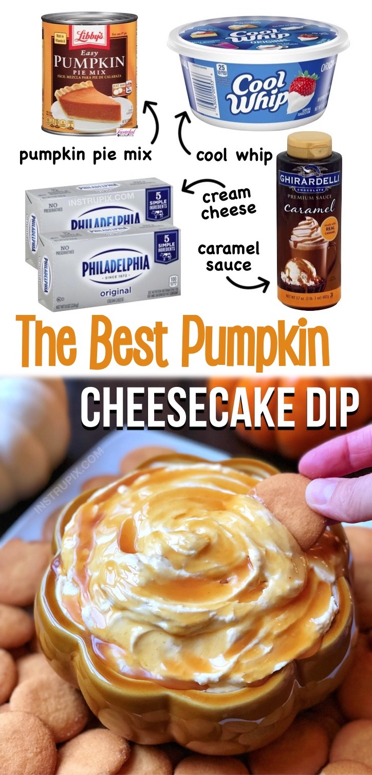 This heavenly treat is so simple to make with just a few ingredients! Cream cheese, pumpkin pie mix, cool whip and caramel. If you're looking for easy and impressive fall dessert ideas for Halloween, Thanksgiving or Christmas, this pumpkin pie cheesecake dip is always a hit for parties and family gatherings! A wonderful no bake party dessert everyone will love. Serve with graham crackers, Nilla wafers or gingerbread snaps. A great finger food served as an appetizer or sweet snack, too.