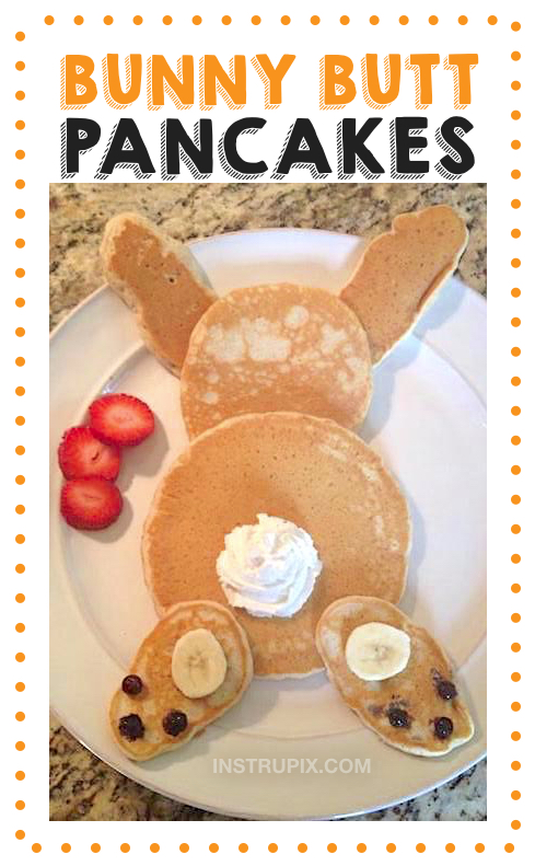 Super fun and easy food ideas for kids! Bunny Pancakes -- a cute breakfast idea for spring and Easter. These quick, easy and fun food and snack ideas for kids are perfect for picky eaters and toddlers. Adorable homemade breakfast pancakes that look like a bunny rabbit.
