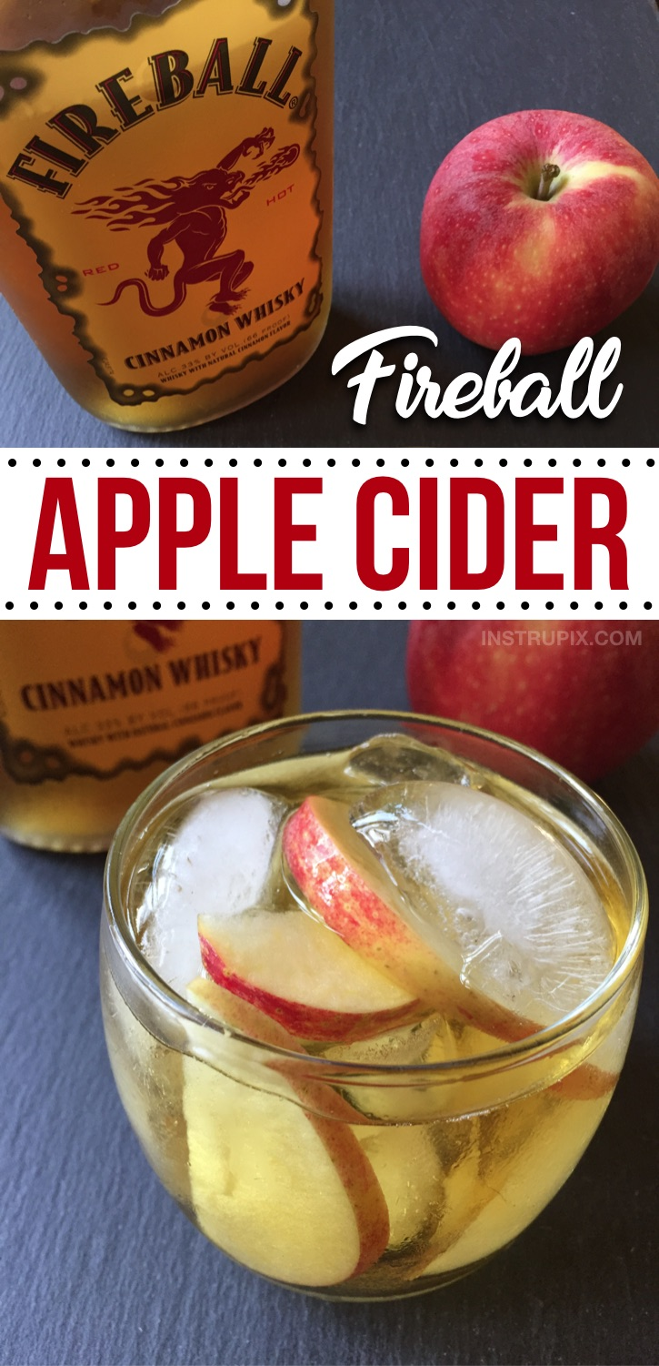 Looking for easy alcohol drink recipes for the holidays? Here is a list of the BEST quick and easy drink recipes for Christmas, Thanksgiving, Halloween and more! This fireball apple cider is SO GOOD! These alcoholic adult drinks and cocktails are perfect for fall parties or just sipping at home by the fire. Everything from mixed drinks to punches, all made with just a few ingedients-- whiskey, vodka, rum, wine and more! Simple Holiday Cocktail Recipes #drinks #cocktails #instrupix