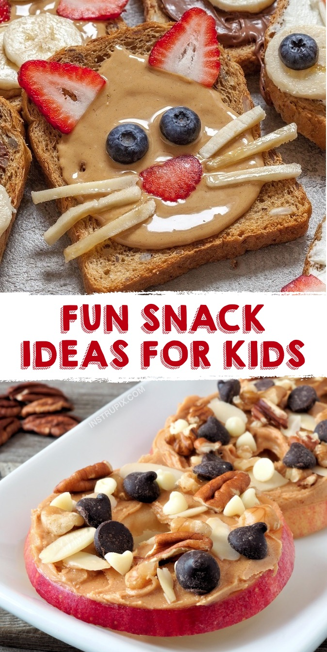 Looking for fun, easy and healthy snack ideas for kids? Here are some quick and creative recipes for on the go, at home, sports, after school, parties and their lunchbox. Simple ideas for toddlers, children and teens! Clean eating has never been so much fun. Everything from fruit and veggies to toast and energy balls. Even your picky eaters will love to make these healthy and cute snack recipes. Great for back to school! #snackideas #healthysnacks #kids #instrupix