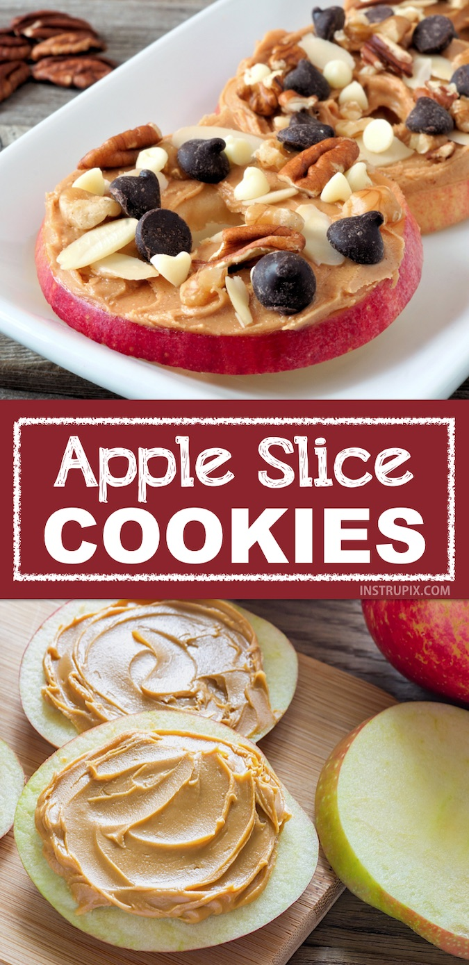 Picky eaters? Here are some healthy and fun snack idea for kids! This quick and easy snack idea is perfect for after school. Apple Slice Cookies made with healthy and cheap ingredients your toddlers and kids will love. | #instrupix #kidssnacks #healthy #kids #apples