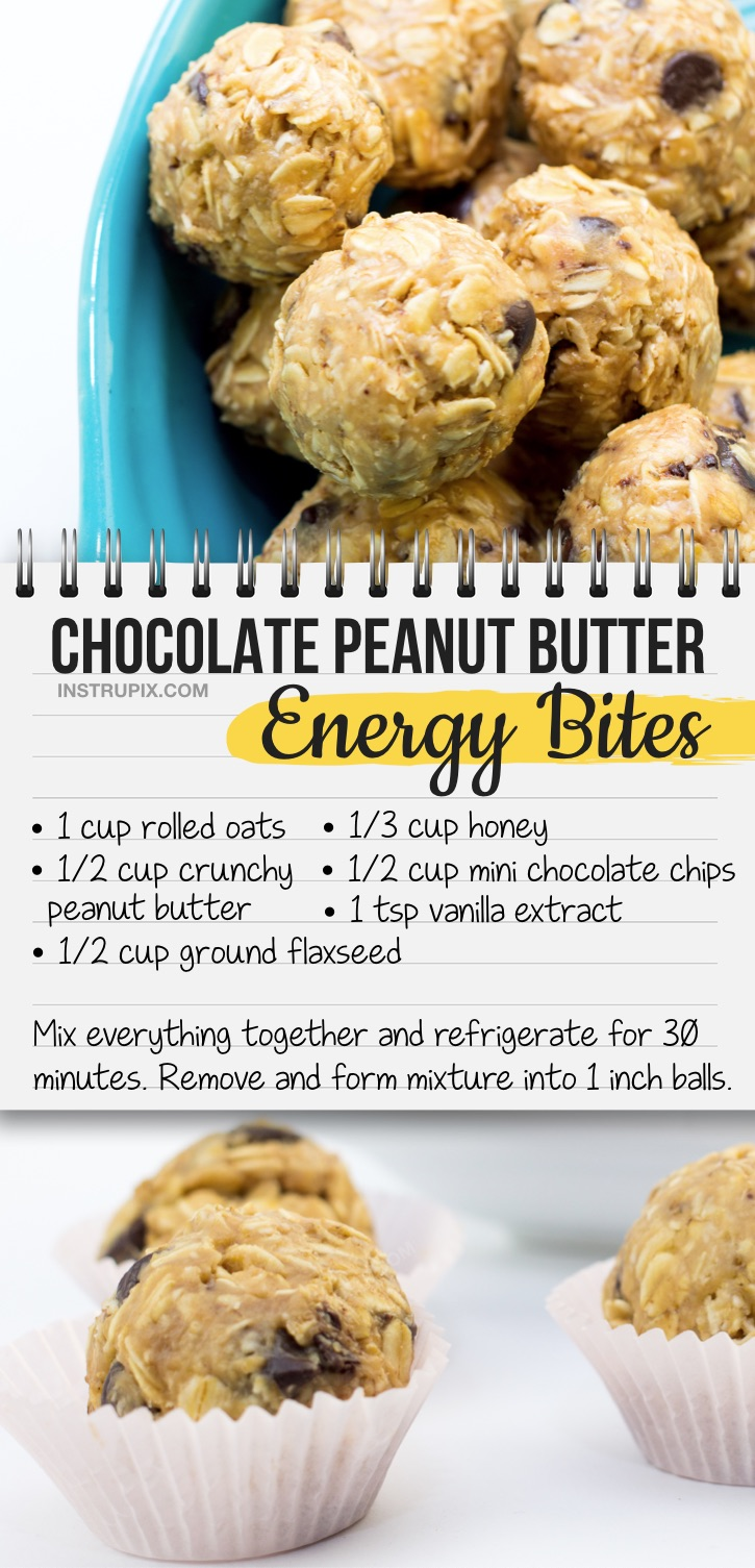 Quick, easy and healthy snack ideas for kids! These peanut butter energy bites are perfect for on the go and kids who play sports. Also great for school classroom snacks and lunches! Your toddlers, kids, teenagers and picky eaters will love this simple and cheap on the go snack idea. #snackideas #energybites #energyballs #healthysnacksforkids
