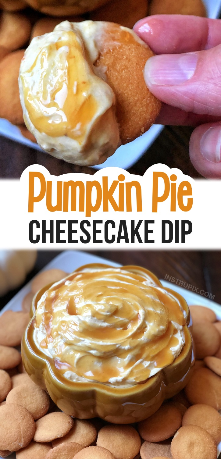 This no bake fall dessert is a real crowd pleaser! It's so simple to make with just a few ingredients including cream cheese, pumpkin pie mix, cool whip and caramel sauce. Perfect dessert appetizer served with vanilla wafers or gingerbread snaps. A quick and easy make ahead party dessert recipe everyone will LOVE! I make it every year for Thanksgiving with my family, but it can also be served for Halloween or Christmas. The BEST holiday treat! #fall #dessert #pumpkin #cheesecake #instrupix
