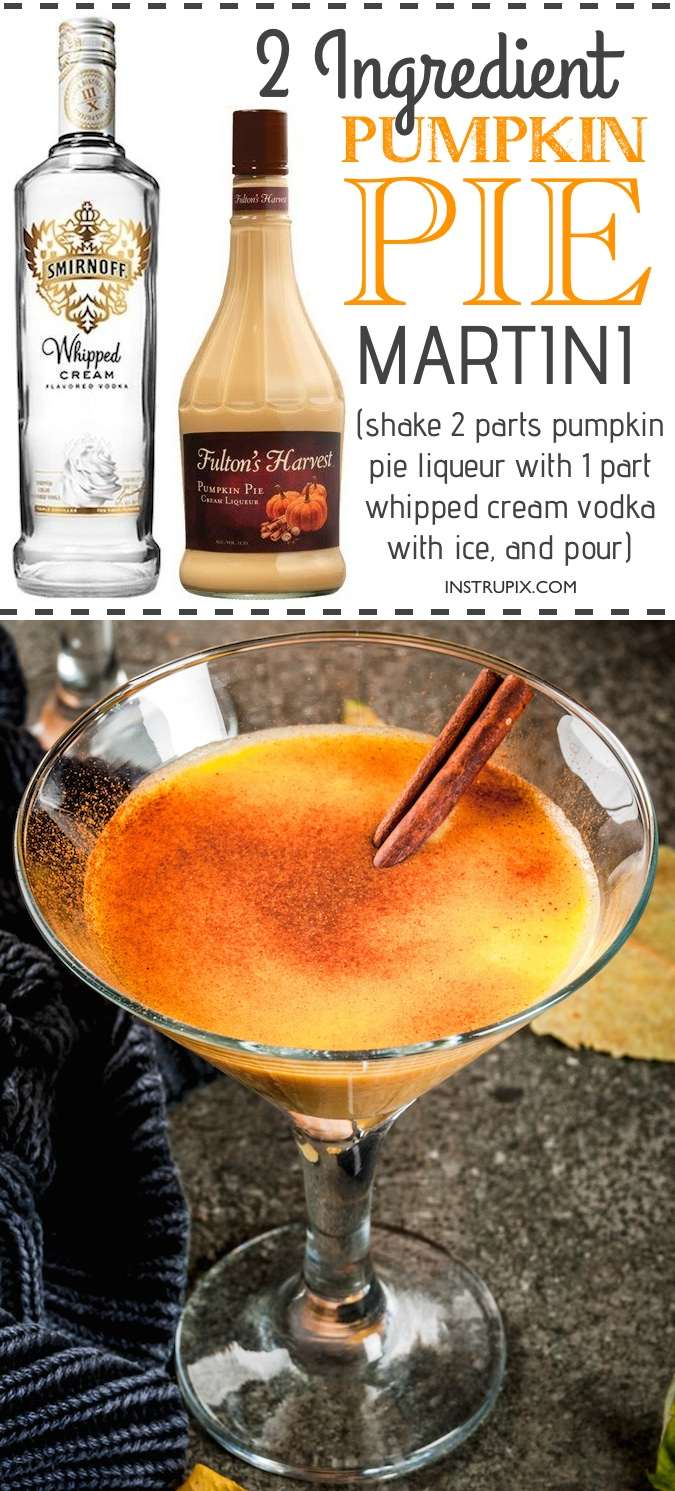 Easy Pumpkin Martini Recipe | 6 easy holiday cocktail recipes using just 2 ingredients! All made with alcohol for adults. These drinks are perfect for Christmas or Thanksgiving, and super easy for a crowd. A variety of whiskey, vodka and wine. Instrupix.com