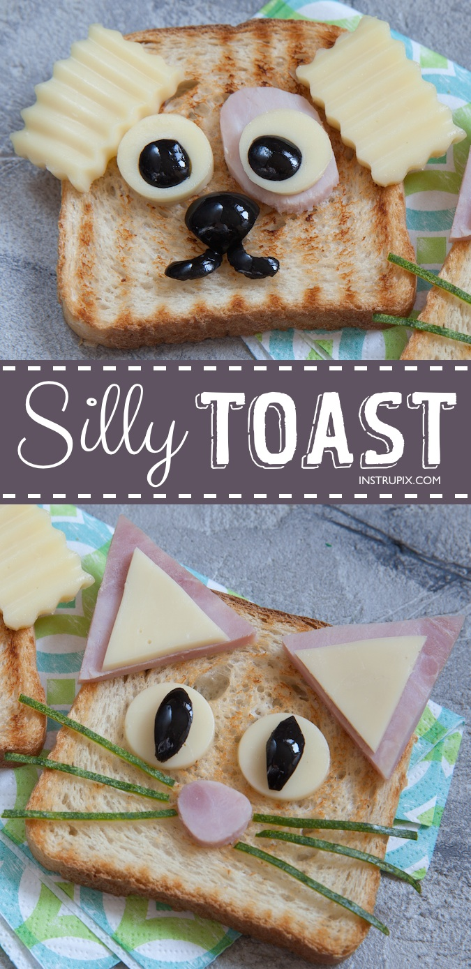 Quick, easy and healthy snack ideas for kids and picky eaters! Animal Toast -- These creative and fun snack ideas are perfect for toddlers and busy kids who play sports. Great for school, too!