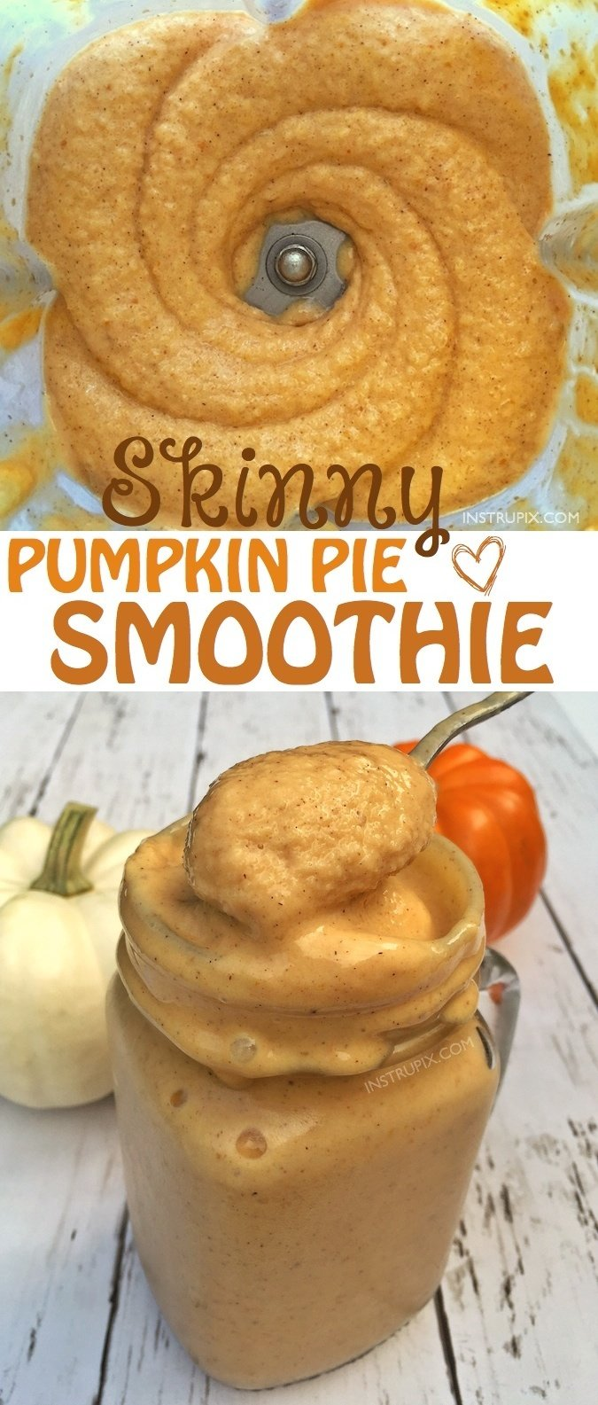 Healthy Pumpkin Pie Smoothie Recipe -- low calorie and super thick and delicious! The perfect Fall treat without all of the guilt! Instrupix.com