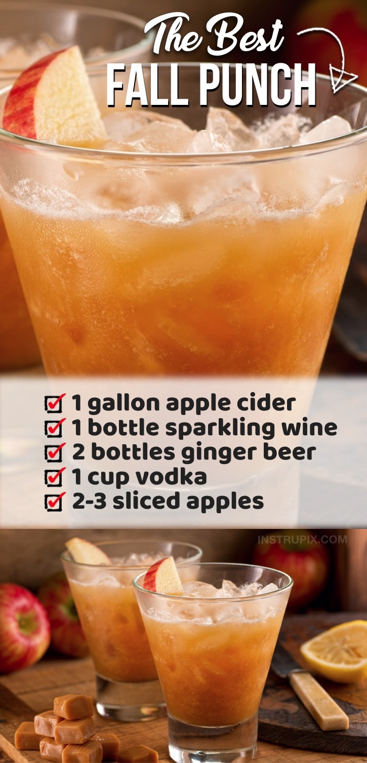 This fall inspired alcoholic punch recipe is made with simple ingredients including vodka, sparkling wine, apple cider, ginger beer and apples. Everyone will be begging you for the recipe! It's pefect for Halloween parties, Thanksgiving with family, Christmas or any type of get-together during the holidays. It serves a crowd but will disappear before your eyes! Double the recipe for a large party. You can also make this with caramel vodka and garnish with oranges, apples or cinnamon sticks.