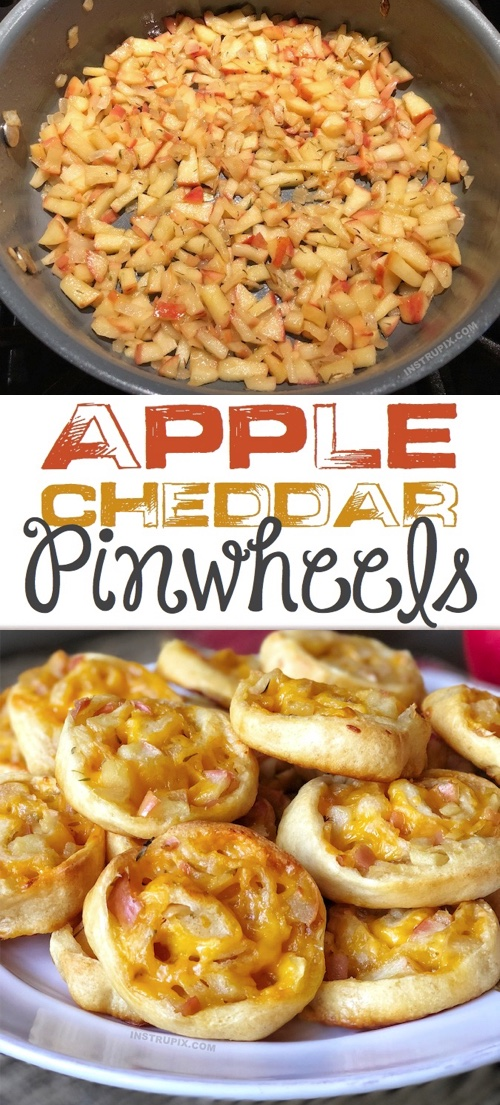Looking for easy Pillsbury Crescent Dough Sheet Recipes? These baked pinwheels are quick, easy and made with simple ingredients! Apple Cheddar Pinwheel Roll Ups (An amazing appetizer or snack idea). Perfect for parties as an appetizer or just a comforting snack idea for the family.