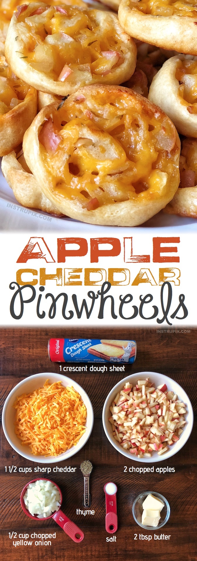 Apple Cheddar Pinwheels Recipe | Simple appetizer and snack recipe idea that is always a hit at parties! The combination of apples and cheddar is delicious! They taste like sweet stuffing. They are a yummy snack too! Instrupix.com
