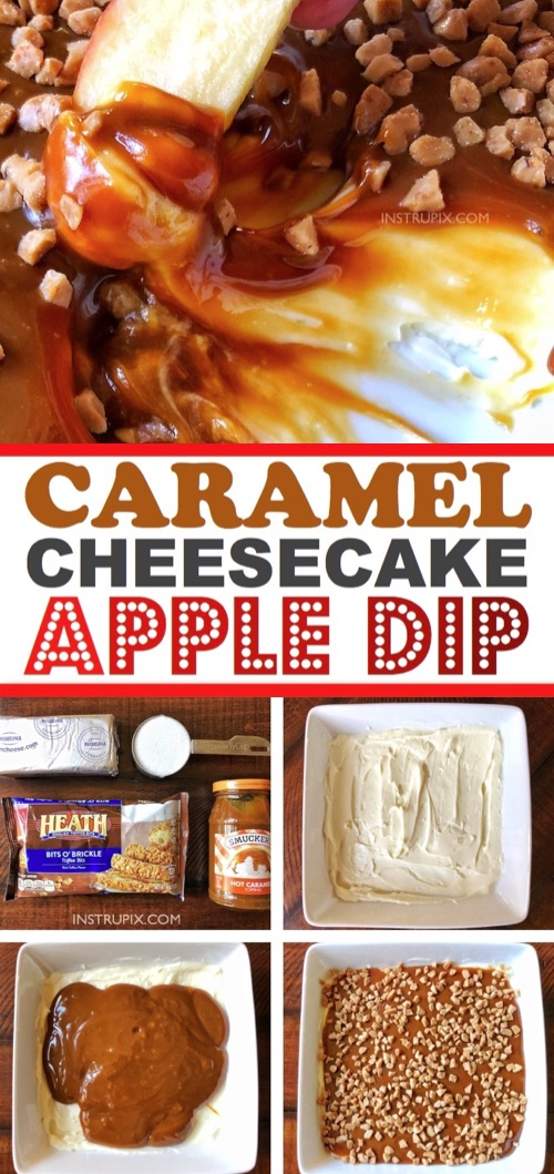 Easy Fall dessert and appetizer idea! Made with just 4 ingredients: cream cheese, caramel, sugar and toffee bits. A real crowd pleaser! Caramel Cheesecake Apple Dip Recipe #instrupix