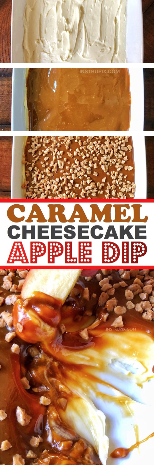 Just 4 Ingredients! I LOVE this recipe! This easy caramel cheesecake apple dip is always a hit! Everyone will be asking you for the recipe. It's the perfect appetizer or dessert recipe for Thanksgiving and Christmas. | Instrupix