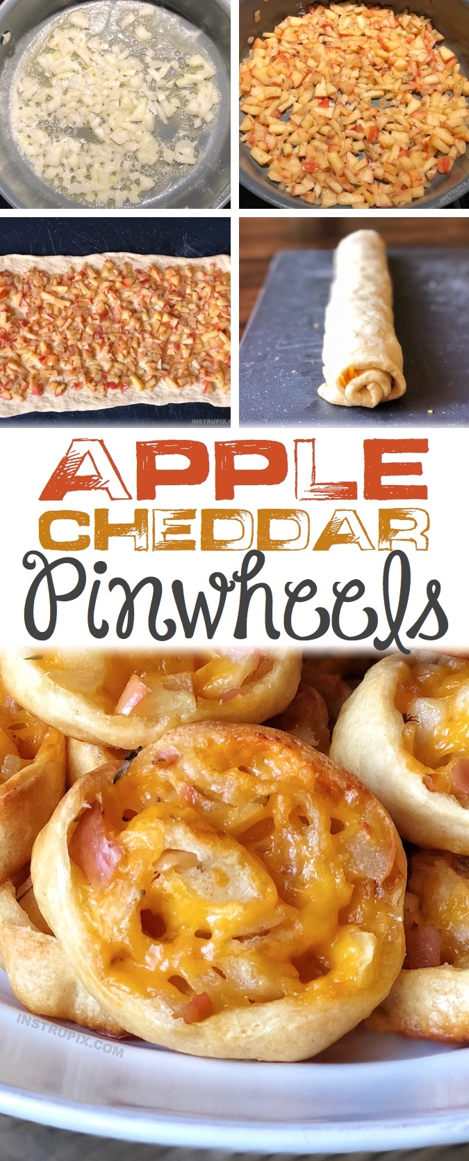 Apple Cheddar Pinwheels Recipe | This easy Thanksgiving and fall appetizer recipe idea is always a hit at parties or family get-togethers! The combination of apples and cheddar is delicious! They warm baked roll ups taste like sweet stuffing. They are a yummy snack too! Instrupix.com
