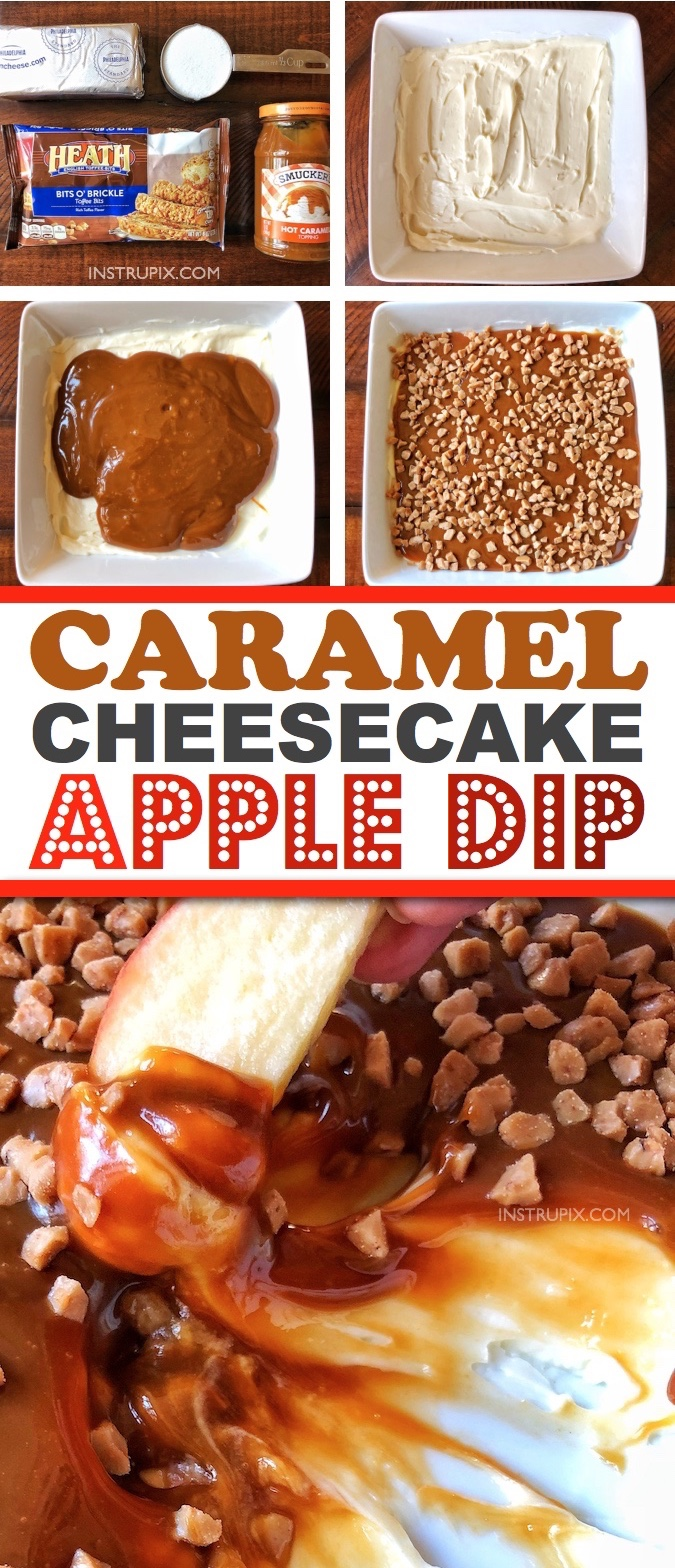 Easy No Bake Caramel Cheesecake Apple Dip Appetizer -- the BEST dessert recipe for parties and the holidays! Perfect for Christmas and Thanksgiving, and this simple 4 ingredient sweet dip feeds a crowd. Plus you can make this easy dessert dip ahead of time! Instrupix.com