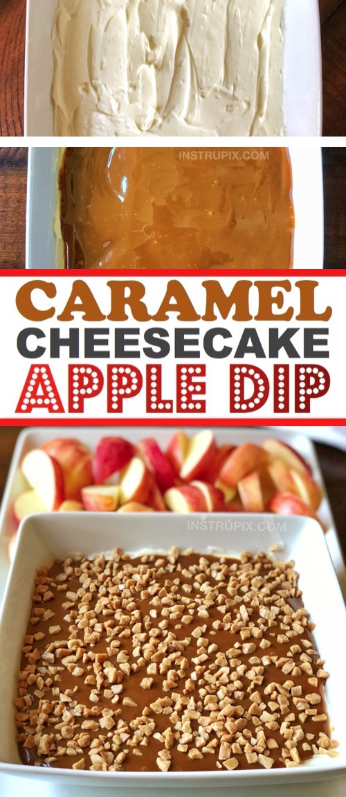 Looking for party food ideas? This easy no bake party dip is super simple and quick to make with just 4 ingredients! Cold Caramel Cheesecake Apple Dip Party Appetizer For A Crowd. Perfect for parties! Especially Christmas and Thanksgiving. It can be made on a budget, too. Kids and adults love this easy party dessert! Made with cream cheese, caramel, toffee bits and sugar. Yum! Serve with sliced apples.