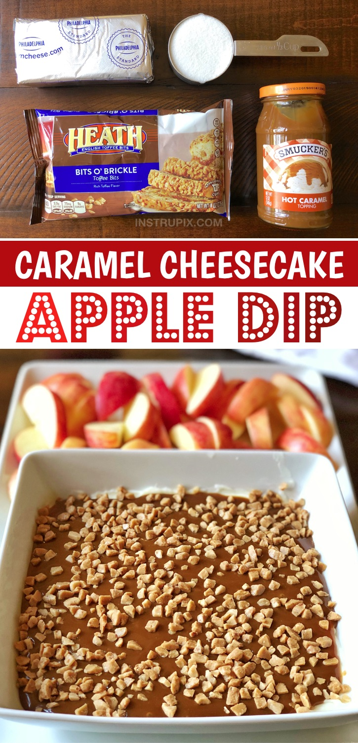 Looking for no bake holiday dessert recipes for a party? This caramel apple cheescake dip is made with just a few simple ingredients: cream cheese, caramel, sugar and toffee bits. It's always a hit for parties or family gatherings especially during the holidays like Christmas or Thanksgiving. This yummy treat is no bake, make ahead, quick, cheap and easy to make! Perfect for feeding a crowd. It works as both an appetizer and dessert. Serve with sliced apples. A yummy fall dessert idea!