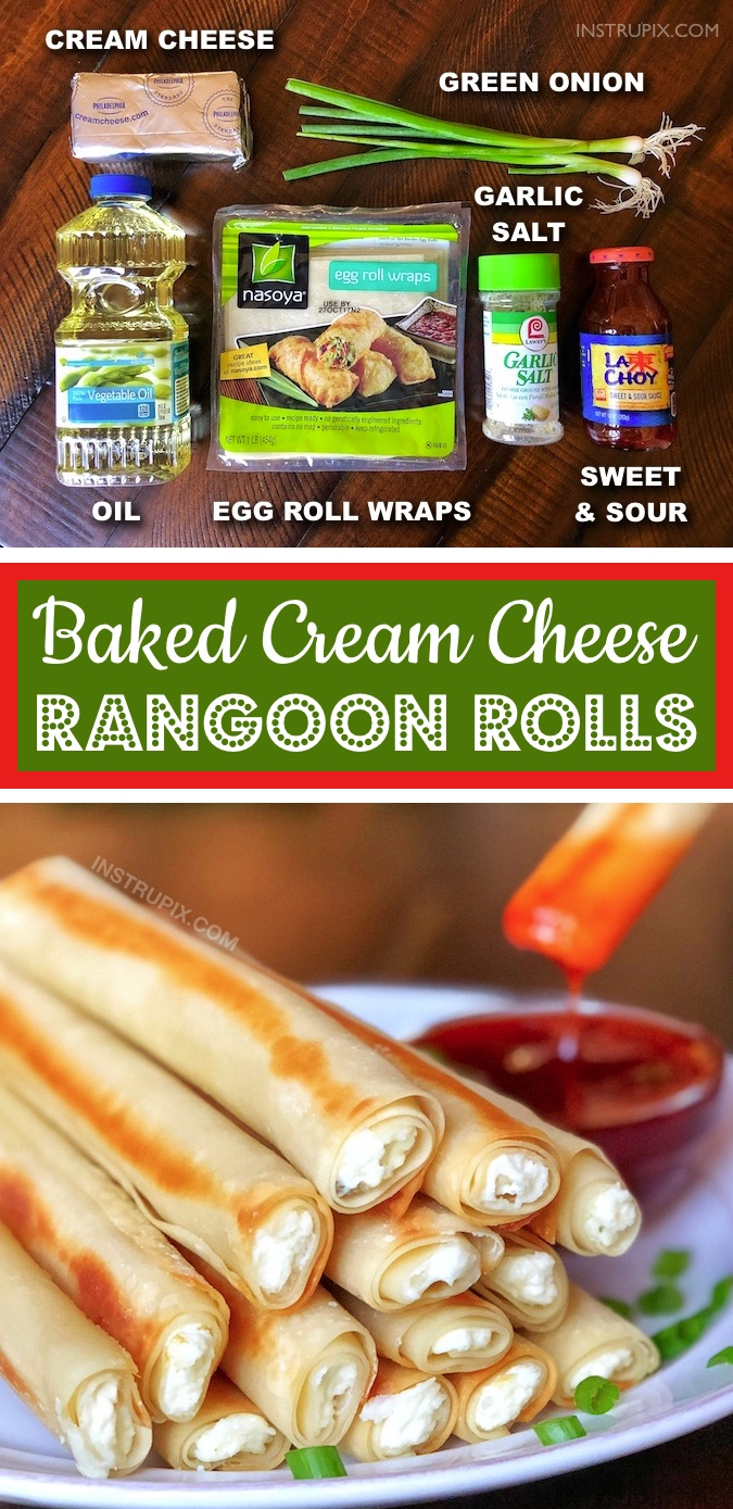 If you like cream cheese recipes, then you are going to love these baked cream cheese rangoon rolls! They taste just like the ones from Panda Express. They are quick and easy to make with simple ingredients including egg roll wraps. They are an incredibly delicious snack, party appetizer or even game day food. A family favorite. Adults and kids love these! Some serious savory comfort food that everyone will love. Dip them in sweet and sour sauce for the ultimate snack. #snackideas #creamcheese