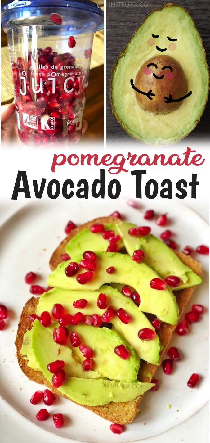 Now that winter is just around the corner, I've noticed that the produce section in my local grocery store is fully stocked with pomegranates and pre-packaged pomegranate seeds. You'd be surprised at how good they are on top of your morning avocado toast! The best healthy winter breakfast. The combination of the sweet pomegranate seeds and buttery garlic toast is a match made in heaven. And just look at how pretty it is! Super yummy for Christmas morning. Quick and easy to make, too.