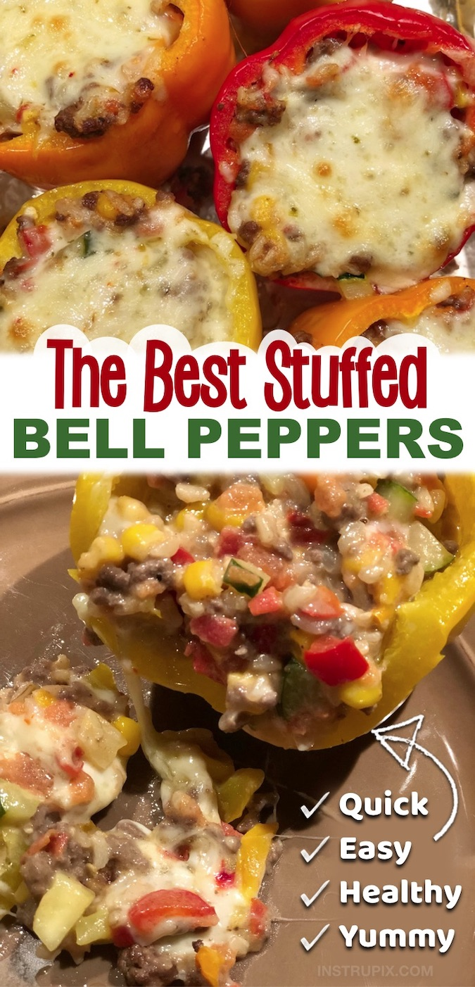 Looking for simple dinner recipes? Try these super quick and easy stuffed bell peppers! They are made with just a few ingredients including ground beef, cheese, corn, zucchini, rice, tomatoes and cheese. They are not only super delicious, but also healthy and gluten free. Leave out the rice to make them low carb and keto friendly. Your entire family will enjoy this easy weeknight meal. You can even make them ahead and then just throw them in the oven. Gotta love easy ground beef dinner recipes.