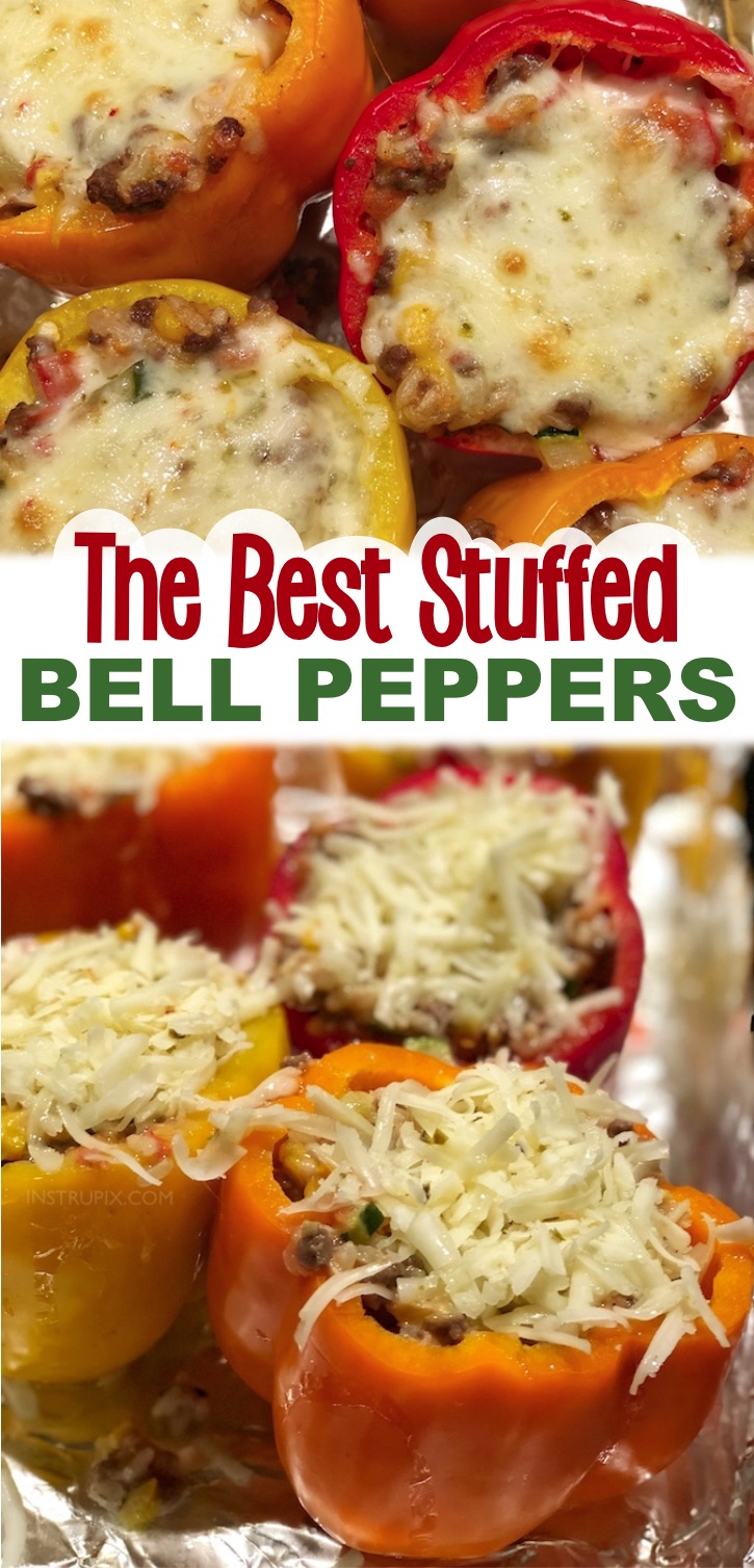 If you're looking for healthy dinner recipes for two, these ground beef stuffed bell peppers are so yummy and made with just a few ingredients! They are packed full of veggies and protein, yet are incredibly delicious and fun to make. Substitute the rice for cauliflower rice to make them low carb and keto friendly. This recipe makes 6 stuffed peppers, but they are just as good leftover for lunch or dinner the next day so my husband and I make them often for just the two of us.