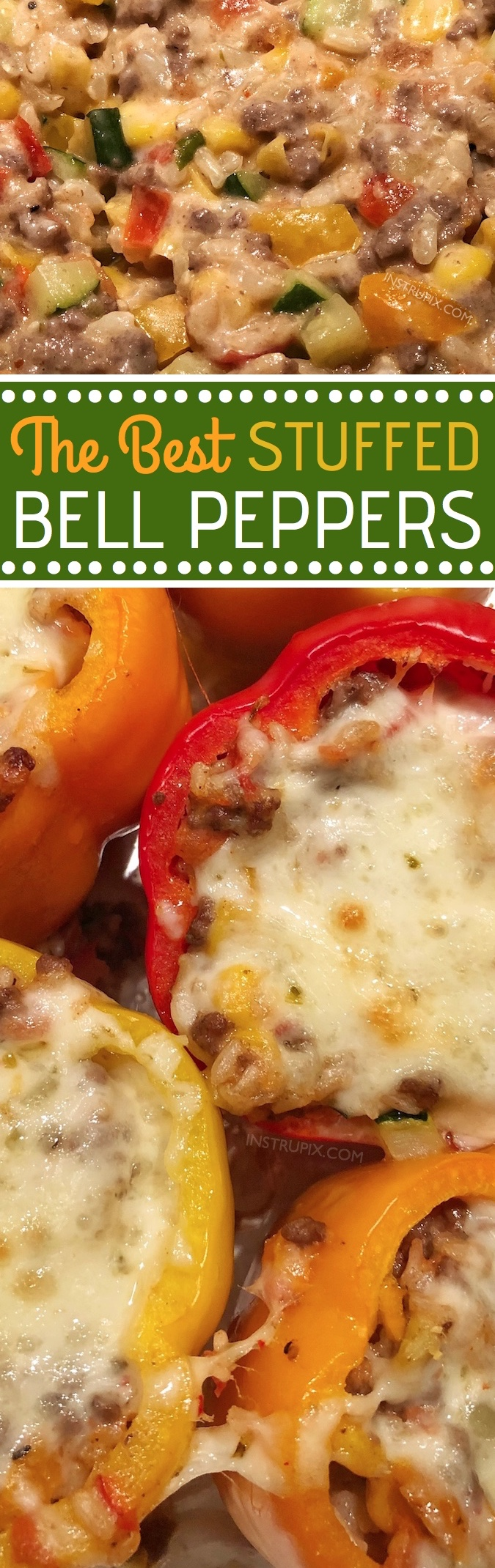 Easy and quick dinner recipe! The BEST easy stuffed bell peppers recipe, ever! Using ground beef (or ground turkey), cheese, garlic, zucchini, corn, tomatoes and rice! Gluten free! Bake them in the oven, and enjoy this easy and healthy dinner recipe for the family. Instrupix.com