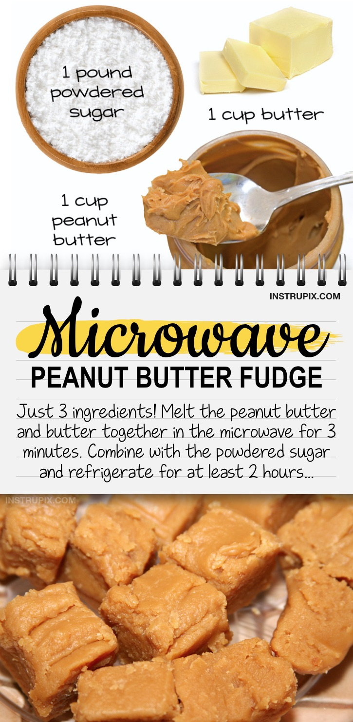 Quick and easy microwave peanut butter fudge recipe - A simple 3 ingredient dessert idea for a crowd! Made with just peanut butter, butter and powdered sugar. No bake, no hassle, no fuss. Great for the holidays!