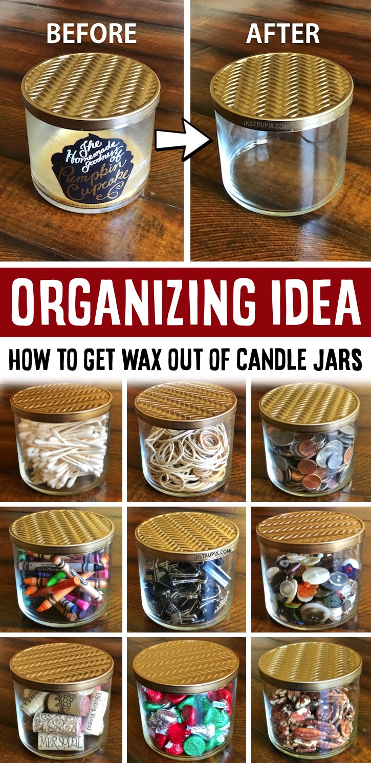 How to easily remove wax from candle jars with just a few simple tips and tricks! I love recycled and repurposed projects that cost absolutley nothing. You can use candle jars to organize and store small items in your home! Office, craft room, bathroom, kithen and more. Just remove the wax and clean them out. Never toss out a used candle jar again thanks to this easy life hack. This fun project is cheap and budget friendly just repurposing items you'd probably throw away. Quick and easy to do!