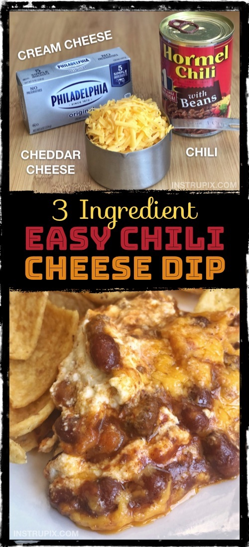 This quick and easy party appetizer is always a hit! It's made with just 3 ingredients: cream cheese, cheddar cheese and chili. It's great for parties! Easy Chili Cheese Dip Recipe #instrupix #appetizers #cheese #partyfood