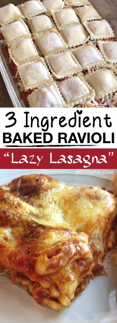 LAZY LASAGNA (3 Ingredient Ravioli Bake) -- This quick, easy and cheap dinner recipe is perfect for the family! It's just 3 ingredients, and an excellent main dish idea for any busy mom or dad. Kids love it, and it's awesome left over too! Super budget friendly. | Instrupix.com