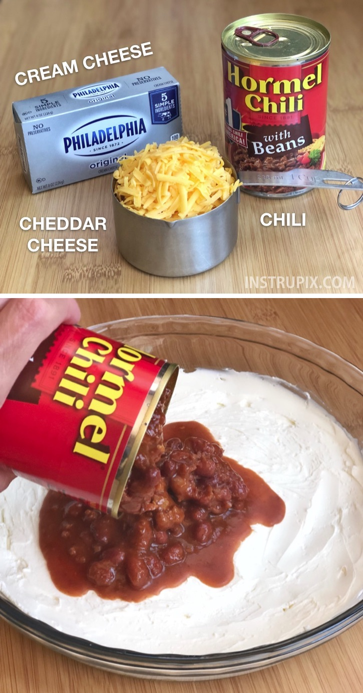 Quick and easy dip recipe for a party made with just 3 ingredients: cream cheese, chili and cheddar. So good! Serve with Fritos. Great for parties or game day. The best party appetizer idea for a crowd!