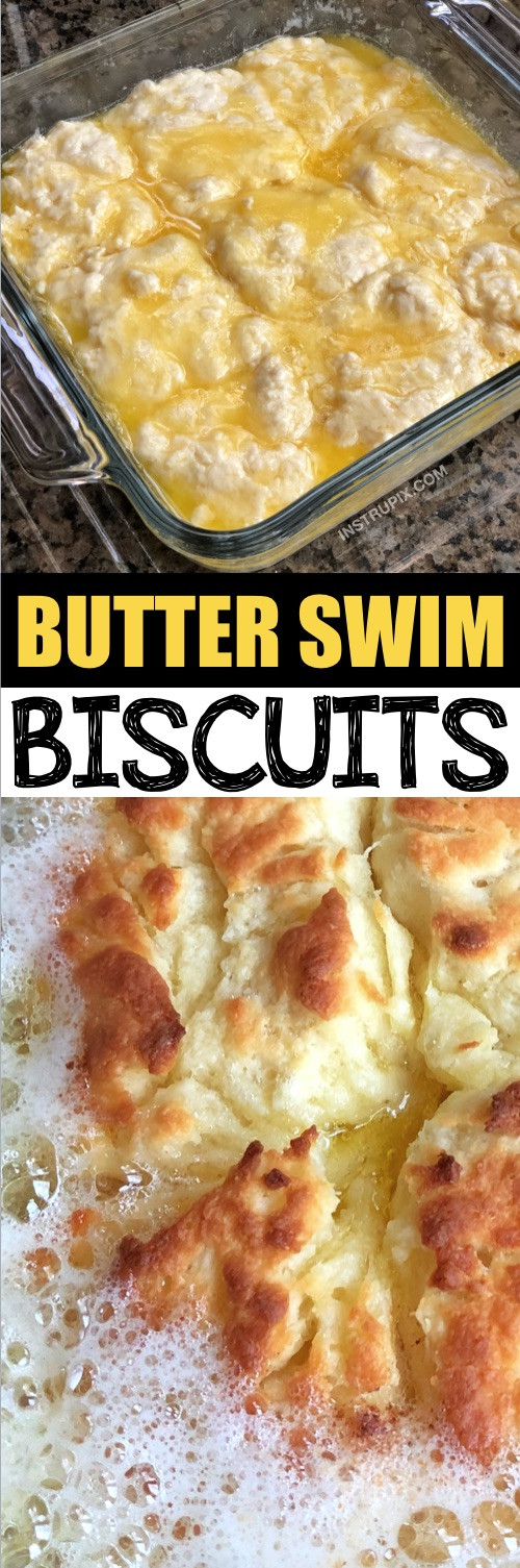 Quick, simple and easy homemade biscuits recipe! It takes just a handful of ingredients to make these delicious butter swim biscuits-- easier than drop biscuits! They are the BEST addition to breakfast, lunch or dinner! | Instrupix.com #instrupix
