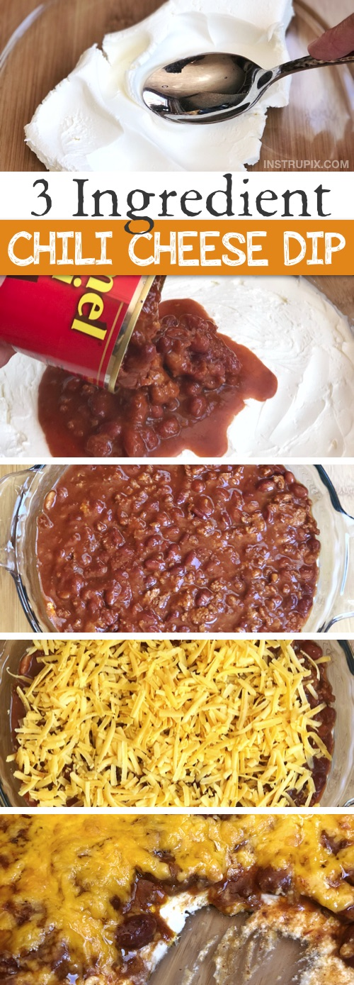 Easy 3 Ingredient Chili Cheese Dip Recipe -- This quick and easy appetizer dip is a real crowd pleaser! Serve it up with Fritos Scoops for the ultimate finger food. You can make it ahead and simply throw it in the oven just before serving. Best party appetizer and snack idea ever! | Instrupix.com