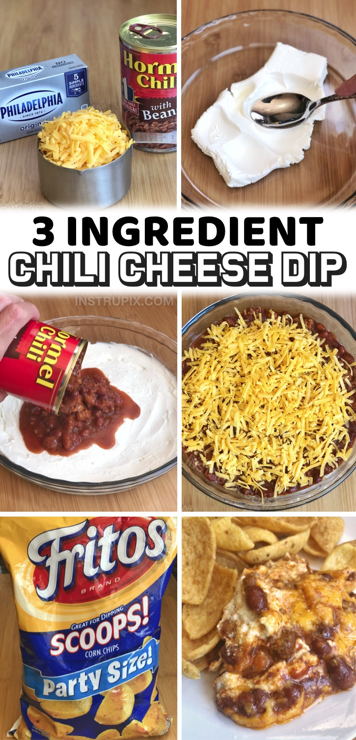 The best quick and easy party appetizer for chips! If you like to party and eat good food, but you're super lazy like me, then this appetizer was made for you. Simply layer these 3 ingredients together in a pie dish (cream cheese, canned chili and shredded cheddar), and bake for 25 minutes. That's it! This creamy dip is absolutely delicious served with Fritos Scoops or tortilla chips. Great for family get-togethers, game day, football sunday, birthdays, potlucks and more. Yummy!