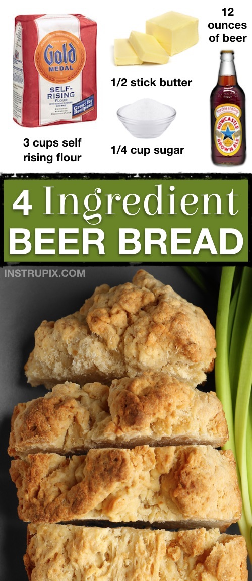 The BEST easy homemade beer bread recipe made with just 4 simple ingredients! Self rising flour, butter, sugar and beer.