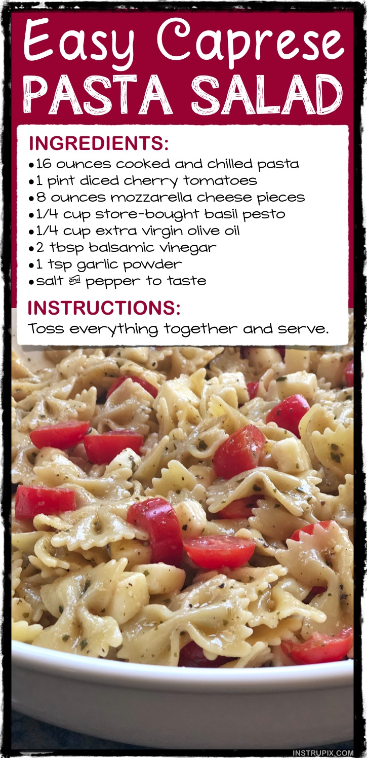 Quick and Easy Cold Italian Pasta Salad Recipe -- Made with simple ingredients! It's perfect for parties, family gatherings, potlucks and BBQs! A fabulous summer side dish. Just like a caprese salad! | Instrupix.com
