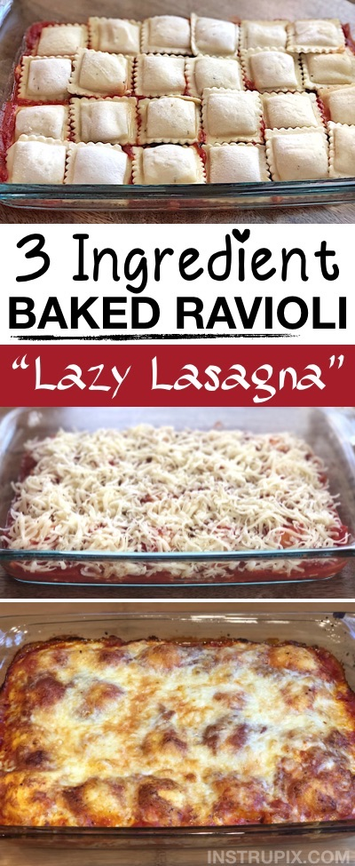 Looking for easy dinner recipes for the family? This 3 ingredient baked ravioli (Lazy Lasagna) is quick, easy, cheap and great for picky eaters! Your kids and husband will love this simple weeknight meal idea. It's made in just one dish, so very little clean up. It's vegetarian but you can add ground beef to the layers or use a meat stuffed ravioli. Great for busy moms and dads on busy weekdays! Made with simple and budget friendly ingredients for large families. #easydinnerrecipes #3ingredients