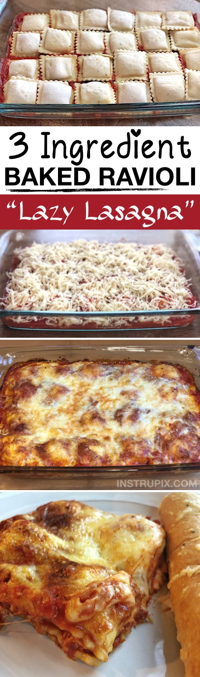 LAZY LASAGNA (3 Ingredient Ravioli Bake) -- This quick and easy dinner recipe is perfect for the family! It's just 3 ingredients (super cheap!), and an excellent main dish idea for any busy mom. Kids love it, and it's awesome left over too! Super budget friendly and vegetarian. | Instrupix.com